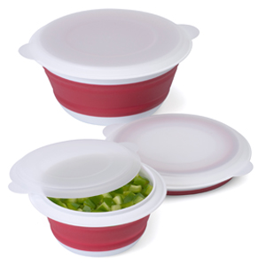 Progressive Set Of 3 Collapsible Bowl Red
